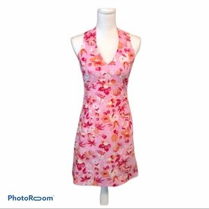 Boston Proper Pink pineapple floral pattern dress
